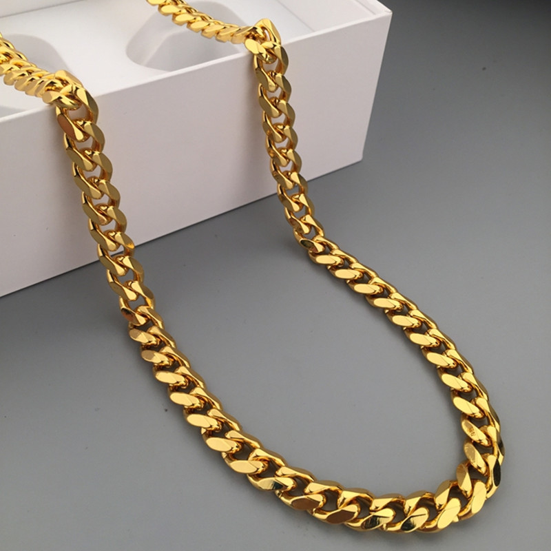 mens mm yellow gold miami cuban chains inches link chain solid