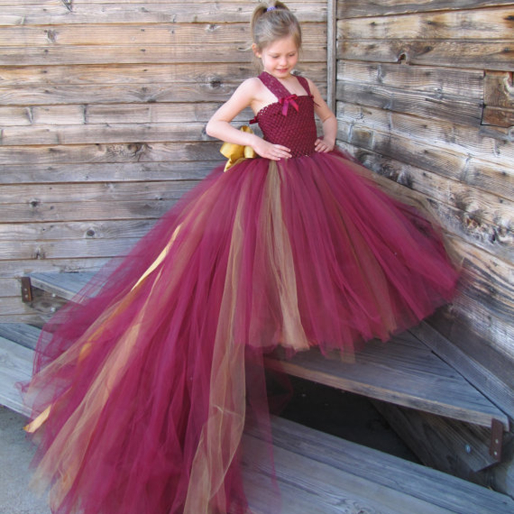 Burgendy and gold Flower Girl Dresses with Train Lace Strap Girl Prom Dresses for Wedding Parties Girls Birthday Dress new high quality fashion excellent girl party dress with big lace bow color purple princess dresses for wedding and birthday