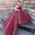 Burgendy y oro Vestidos de Niña con el Tren Correa de Cordón de la Muchacha de Baile Vestidos para Bodas Vestido de Cumpleaños de Las Muchachas