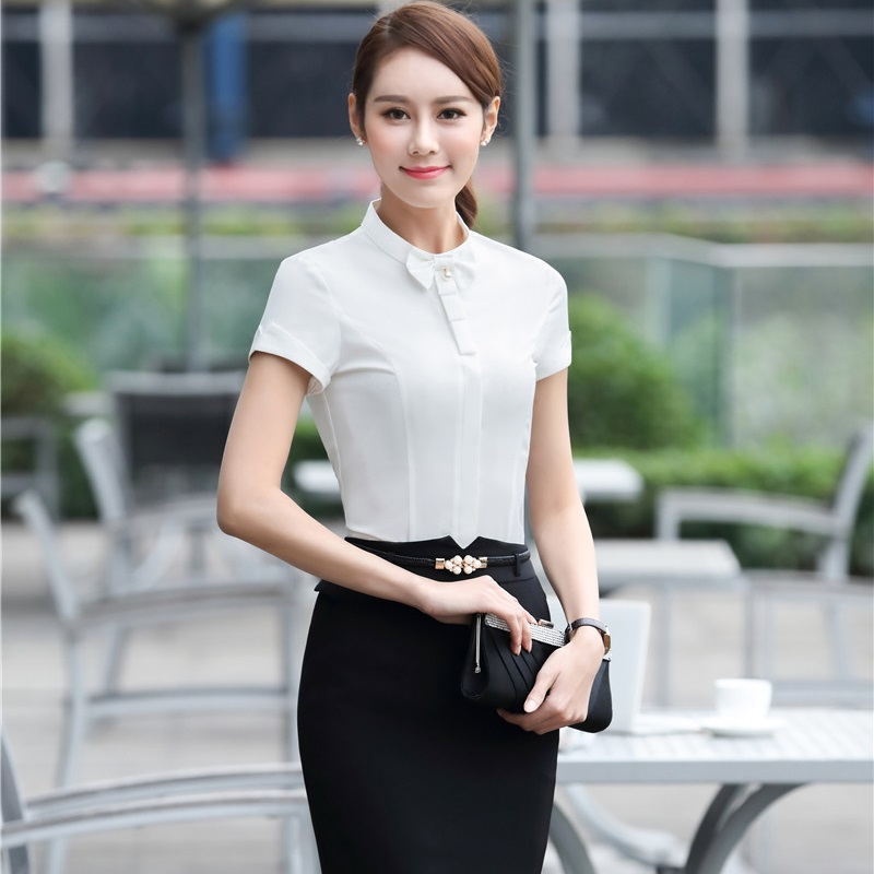 Elegant White Summer Short Sleeve Blouses Suits With Tops And Skirt For Ladies Formal Work Wear Slim Outfits Plus Size 3XL