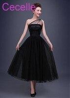 Short Black Gothic Wedding Dresses 2018 One Shoulder Vintage Dot Tulle 50s 60s Informal Bridal Gowns With Color Non White