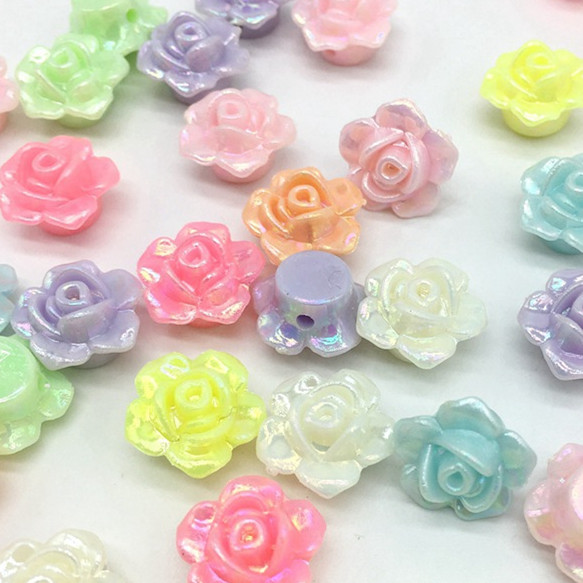 100pcs Candy Color 3d Flower Acrylic Beads For Children Kids Jewelry Making Necklace Bracelets Beads Pretty And Colorful Beads & Jewelry Making Jewelry & Accessories