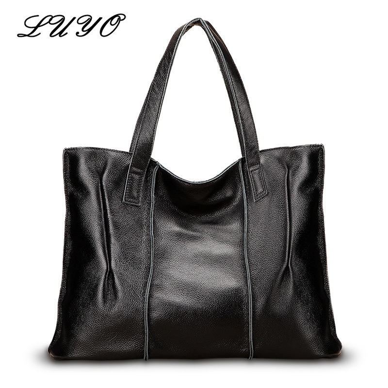 Luyo Brand Genuine Leather Large Capacity Casual Tote Bag Ladies Handbag Luxury Handbags Women Shoulder Bags Designer Female brand designer large capacity ladies brown black beige casual tote shoulder bag handbags for women lady female bolsa feminina page 2