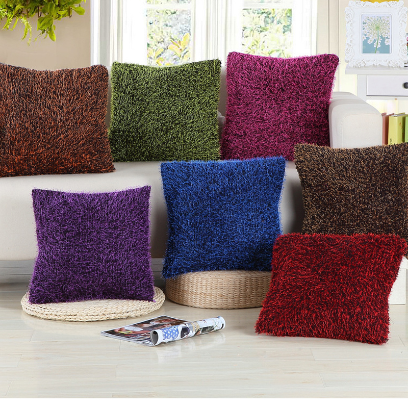 plush fluffy decorative pillow covering throw sofa seat car cushion cover solid cover soft warm green