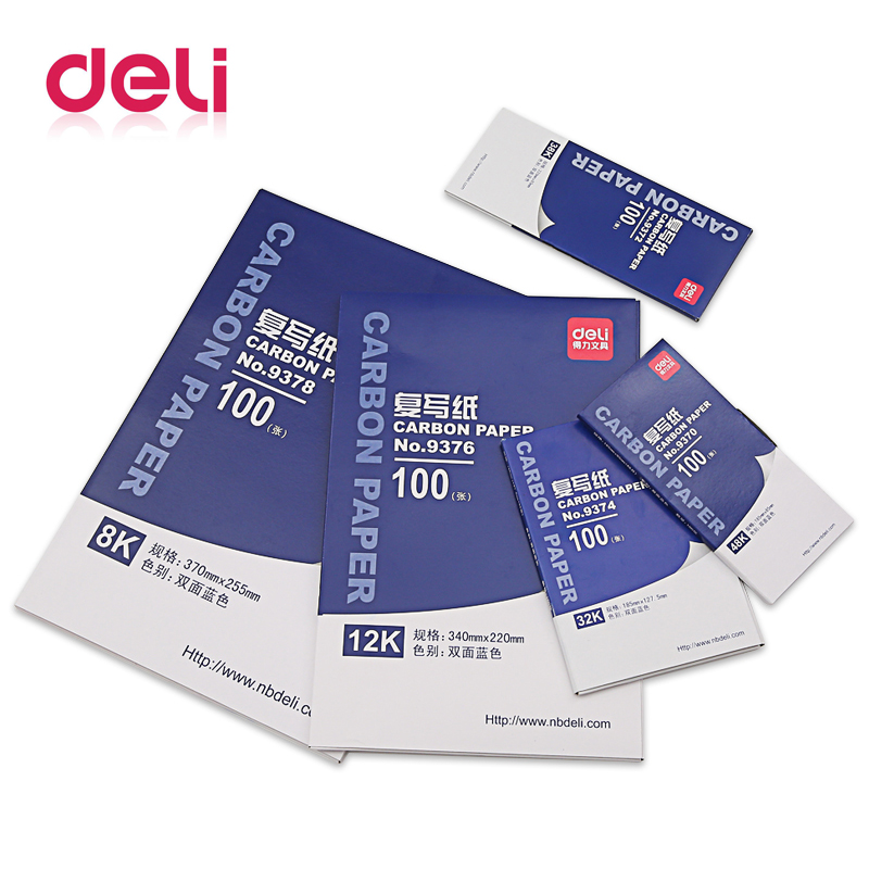 Deli 1 Pack 100 Sheets Blue Color 48K Thin Carbon Paper Include 3 Red Ones 48K 85mmx185mm Accounting Supplies 9370
