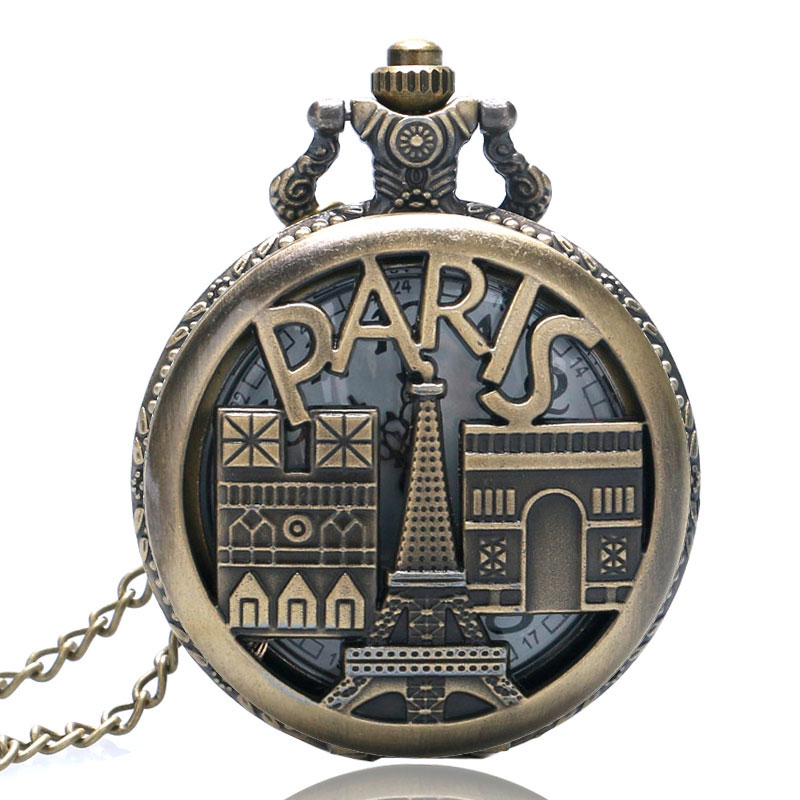Vintage Bronze Paris Eiffel Tower Triumphal Arch Quartz Pocket Watch Necklace Pendant Men Women Gifts