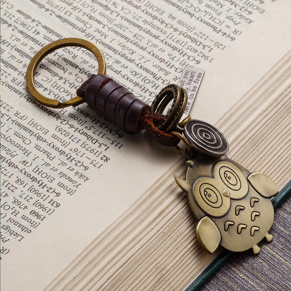 Fashion cute animal bird owl pendant leather bag trinket keychain for Women purse mens car keys chain ring holder auto souvenir