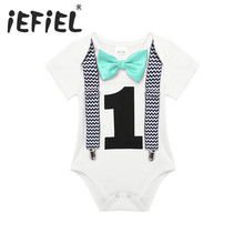 020395d7d612 iEFiEL Toddler Newborn Baby Boys 1st Birthday Romper Summer Clothes Infant  Jumpsuits For One 1 Year