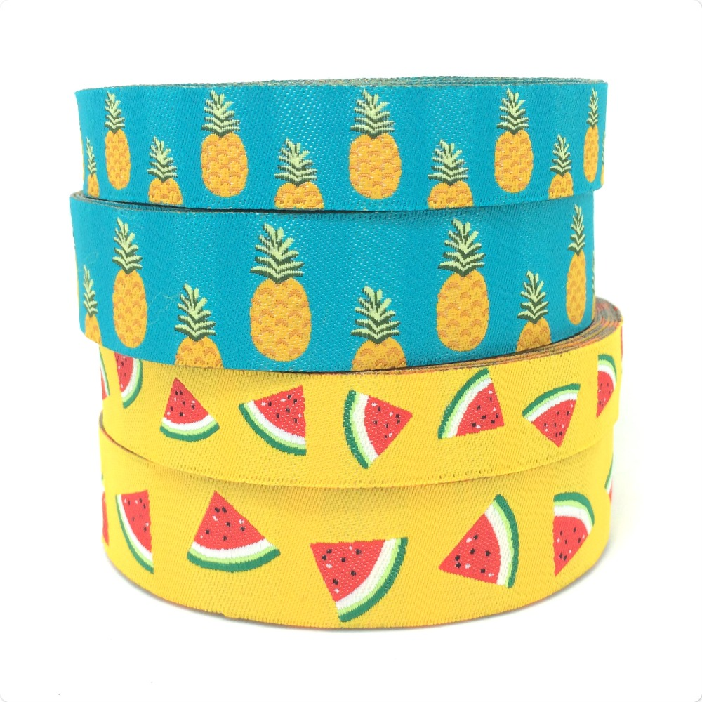 christmas dog clothes accessories yellow watermelon and blue pineapple 16mm 5 8 quot and 22mm 7 8 quot Woven Jacquard ribbon New Year in Ribbons from Home amp Garden