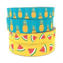 christmas dog clothes accessories yellow watermelon and blue pineapple 16mm 5/8 22mm 7/8 Woven Jacquard ribbon New Year