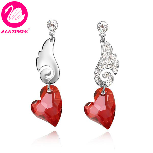 Us 13 04 Quality Women S Angel Wings Style Red Heart Crystal Earring Made With Swarovski Elements Come A Box 5382 In Drop