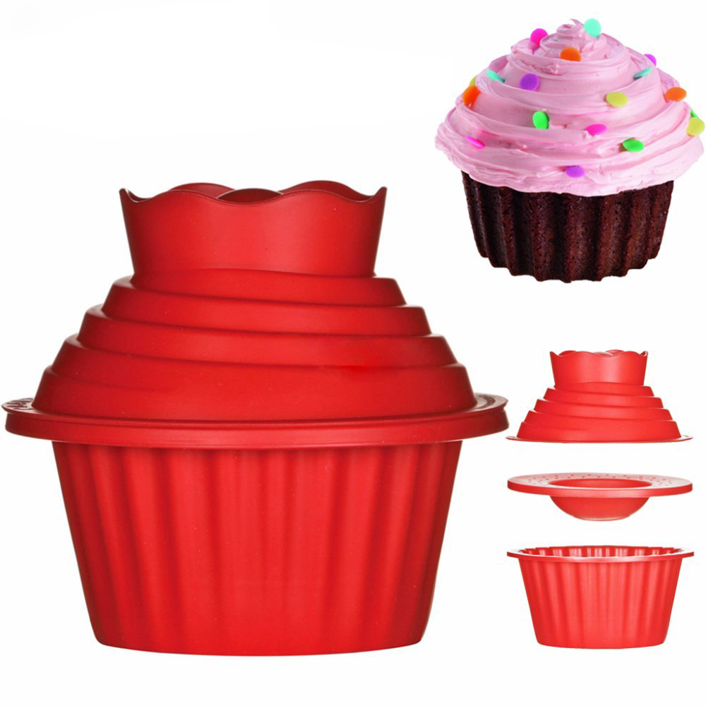 3pcs Big Top Cupcake Silicone Mould Heat Resistant Bake