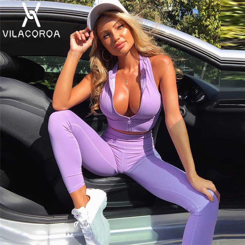 Purple Sports Slim Yogawear Women Set Ensemble Femme Zipper Clothes Vest Crop Top + Long Pant 2 Piece Set Women chandal mujer