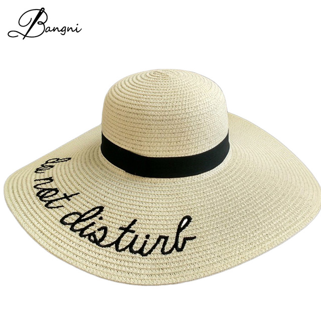 d7a554b7fab 2017 New Foldable Ladies  Wide Brim Straw Beach Hats With Embroidery Women s  Sexy Large Floppy Sun Caps New Brand Chapeu Praia