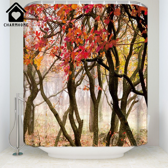 CHARMHOME Custom Forests Autumn Trees Shower Curtain Waterproof Fabric Polyester For Bathroom Free Shipping