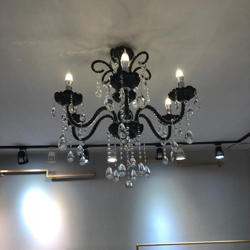 Nautical Bar Cafe store mini black chandelier led lamparas 6/8 arm dining room bedroom kid's vintage glass chandeliers Avize