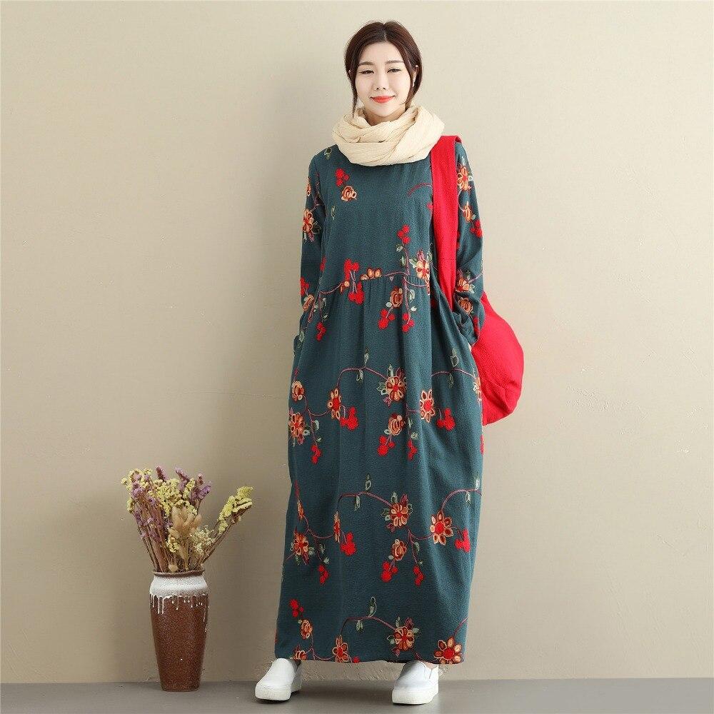 Automne hiver femmes coton lin Maxi robes Vintage à manches longues broderie Floral grande taille taille haute robe