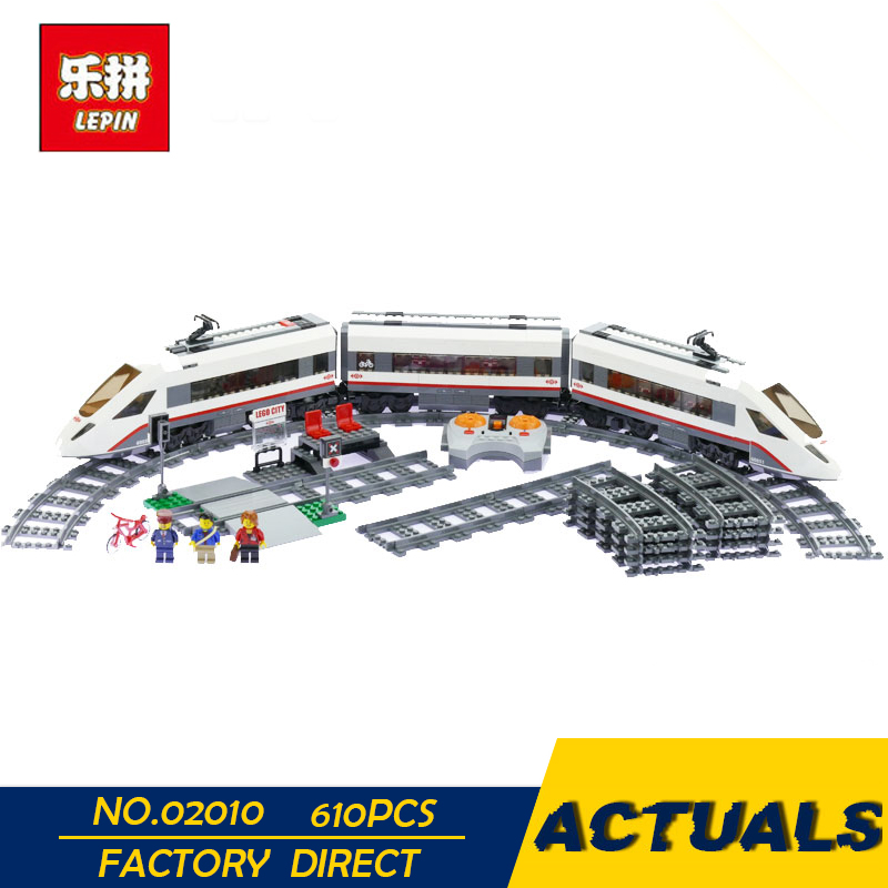 LEPIN 02010 610PCS City Creator Series the High speed Passenger Train Remote control RC Rail Train Set Building Blocks 60051 lepin 02009 city engineering remote control rc train model