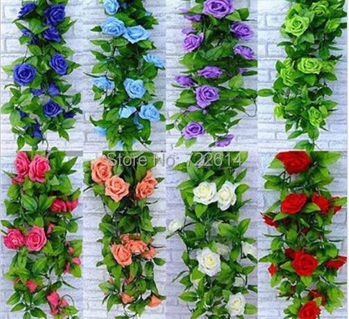 2.5M Artificial Rose Garland Silk Flower Hanging Vine Ivy Wedding Floral Decor