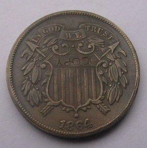 Два Процента 1864 копирования монеты БЕСПЛАТНАЯ ДОСТАВКА