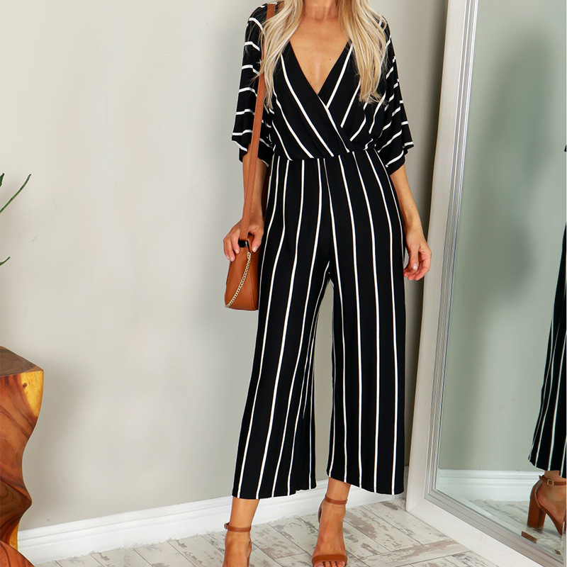 ZANZEA 2019 Summer Elegant Women Striped   Jumpsuits   OL Work Wide Leg Pants Casual Loose Deep V-neck Short Sleeve Loose Rompers