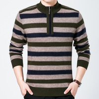 New Fashion Brand Men Winter Casual Sweater Zipper Half Hight Collar Striped Jumpers Sweaters for Men Long Sleeve Pullovers Male