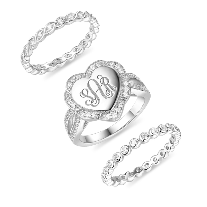 Wholesale Personalized 3 Stacking Heart Monogram Ring With Cubic Zirconia Sterling Silver Engagement Ring