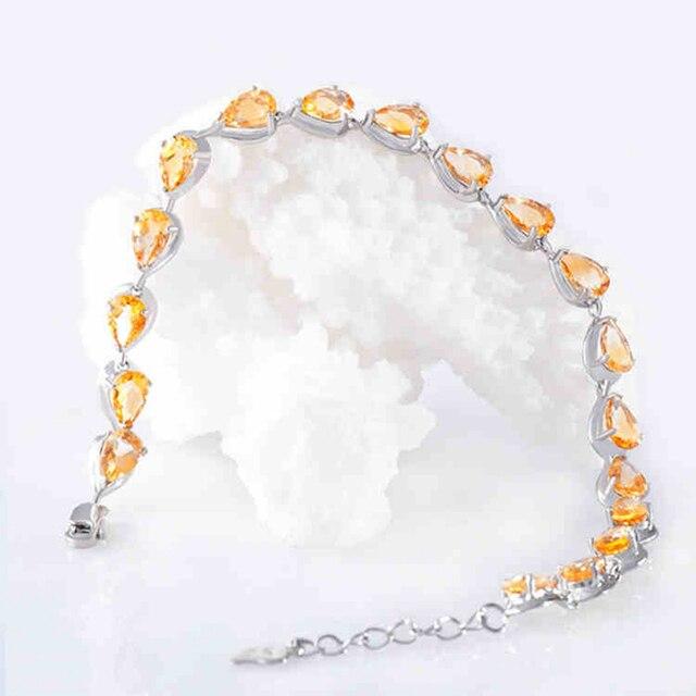 Charming Natural Semi-precious Stone Yellow Citrine Bracelets Genuine 925 Sterling Silver Fashion Fine Jewelry Valentines Gifts