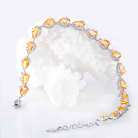 Genuine 925 Sterling Silver Charming Natural Semi precious Yellow Color Stone Bracelets Women Female Jewelry Valentines Gifts