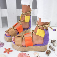 Fashion Womens Sandals Hemp Thick-soled Shoes New Trend Gladiator Tied with Rope