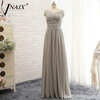 Vnaix B3079 Real Image A Line Chfiion Plus Size Long Grey Bridesmaid Dress 2015 V Neck