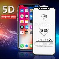 Protector de pantalla de vidrio templado para iPhone, película protectora de pantalla de cristal de 0,23mm, 9H, 5D, para iPhone 11 Pro Max, XS, Max, XR, X, 10, 8, 7, 6, 6s Plus