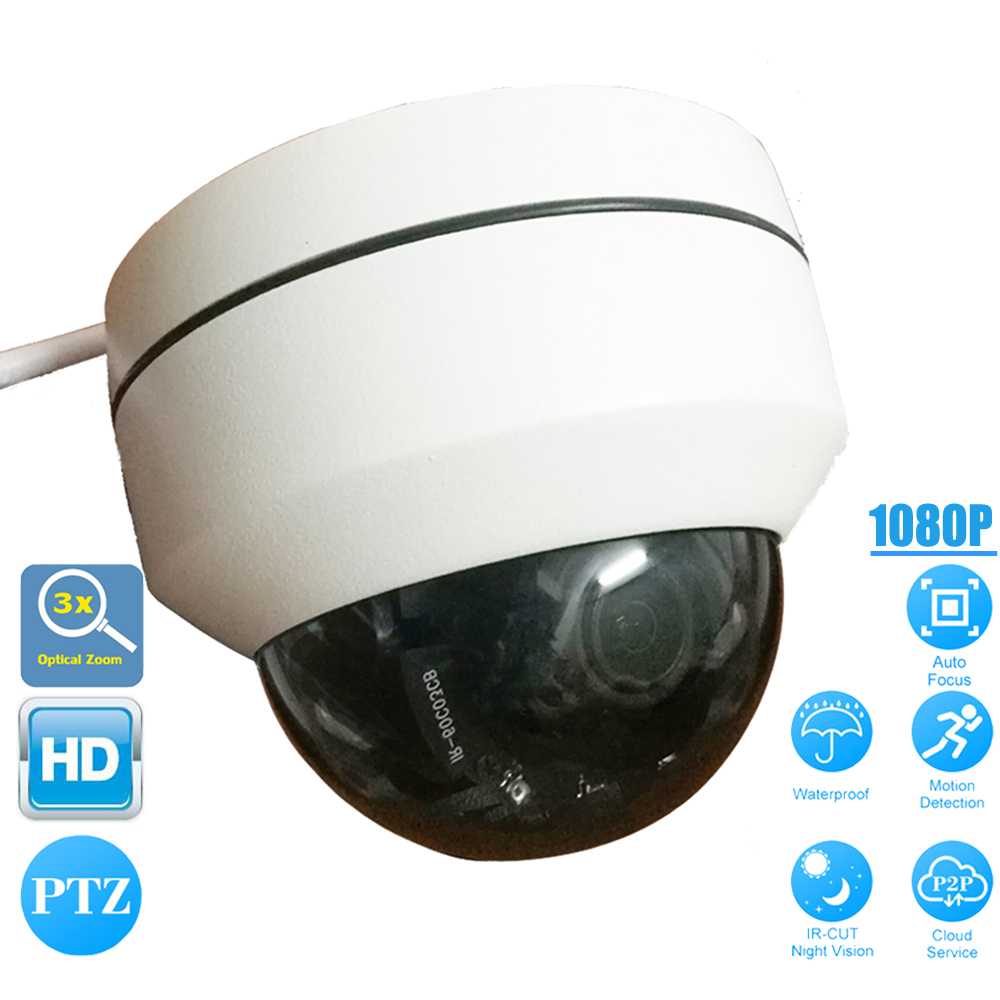 Indoor/Outdoor Mini SONY HD 1080P PTZ Dome IP Camera 2.0MP 3X OpticaL Zoom Auto Focus IR-Cut P2P Security CCTV Camera ONVIF 2.4