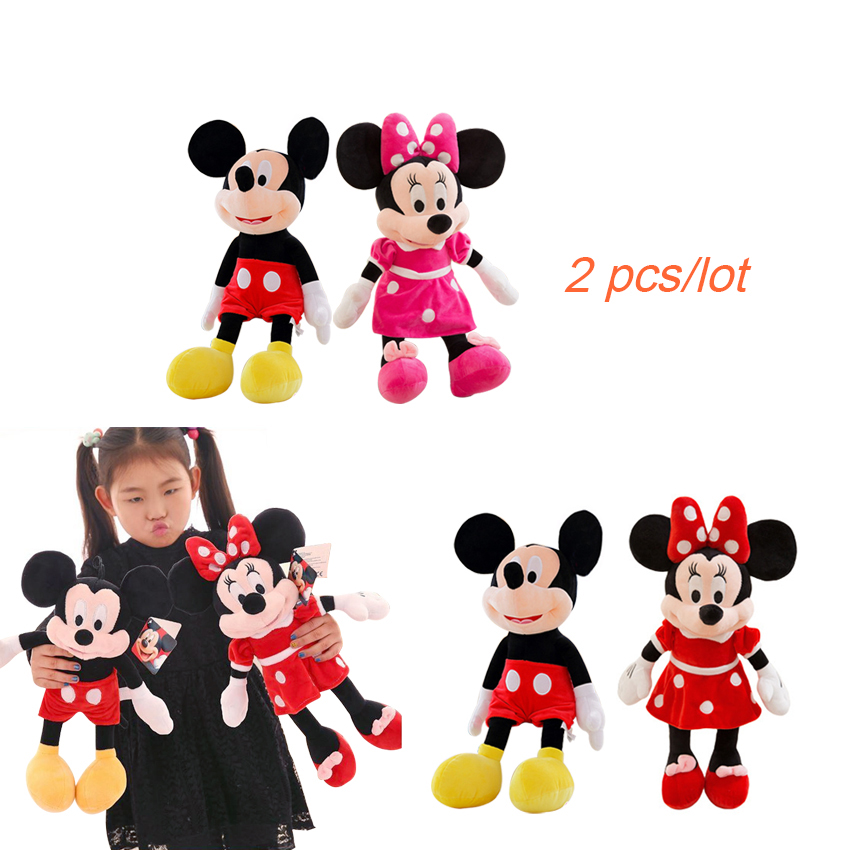 2pcs/lot 40cm Selling Mickey And Minnie Plush Stuffed Animals Mickey Mouse Kids' Toys Stuffed Doll for Children Gifts 1 piece 35cm 13 7 mickey mouse plush toys doll for kids gifts