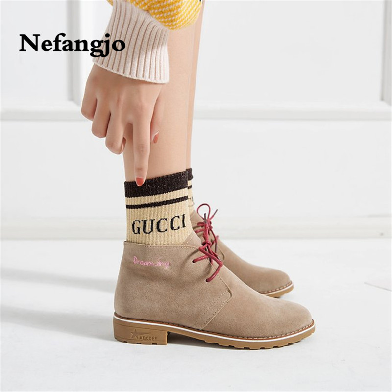 f08e111fd Botas Zapatos 20108 De Planos up Moda Mujer Botines Nueva Casual Otoño  Venta Nefangjo marrón Negro ...