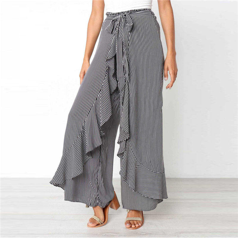 High waist Sashes Ruffles wide leg   pants   women Summer beach high waist trousers Chic streetwear sash casual   pants     capris   female