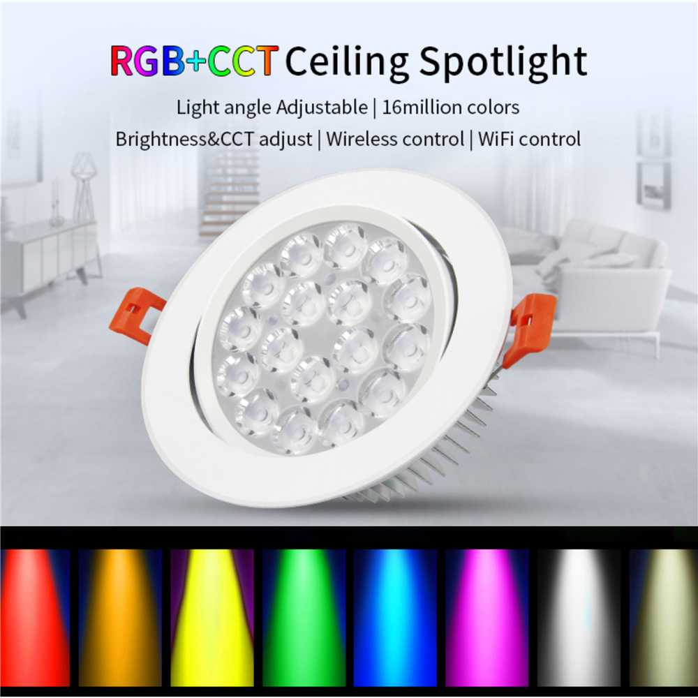 promo code 5aea1 23969 US $14.99 30% OFF|RGB CCT LED Panel Light Mi Light 9W AC85 265V Panel LED  Downlight RGB+CCT Spot LED Ceiling Dimmable By Mi Light WIFI Remote-in LED  ...