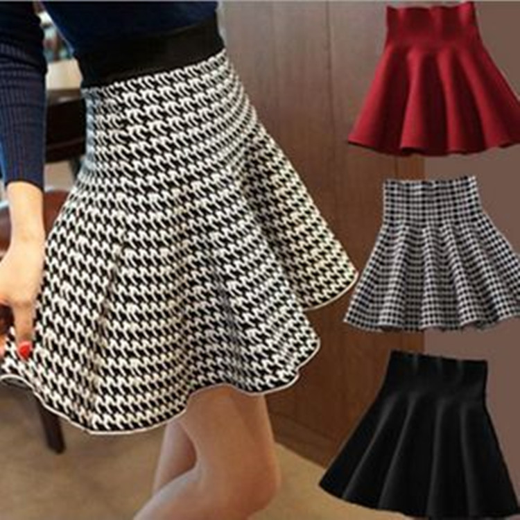 74efd39a9 Weyes & Kelf Winter Houndstooth Red Black Gray Plaited Skirts Womens 2017  New Waist High Waist Bag Hip Knitted Mini Skirts-in Skirts from Women's  Clothing ...