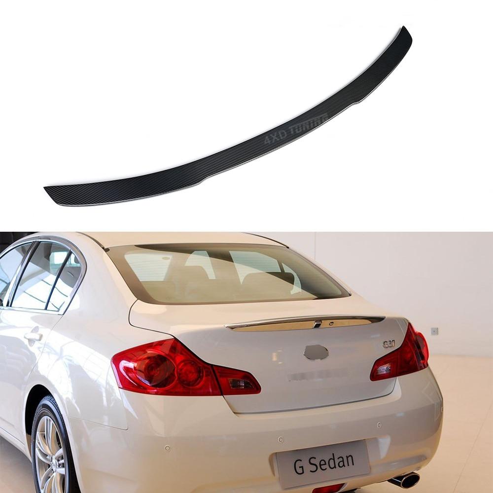 For Infiniti G Series G37 G25 Carbon Fiber Rear Spoiler Bumper Back Lip Trunk Wing Gloss Black 2009 2014 In Spoilers Wings From