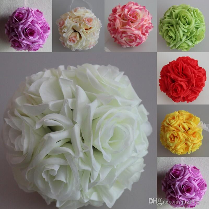 Fashion White Artificial Silk Flower Rose Kissing Balls Wedding