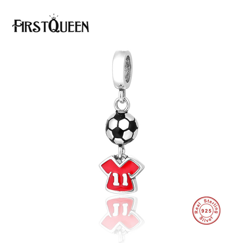 FirstQueen Free Shipping Solid Silver Enamel Football Charm Pendants Fits Original Brand Bracelets Bangles Fine Jewelry