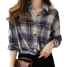 Women Casual Long Sleeve Plaid Blouse All-match blusas mujer de moda Summer Loose Lightweight Button-up Blouse Women Clothing boys roll up sleeve plaid blouse