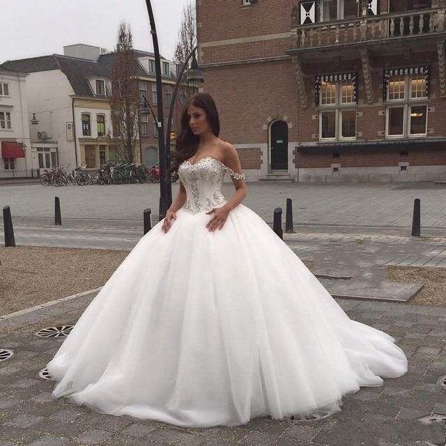 Sissi Trouwjurk.2016 Nieuwe Schouder Trouwjurk Kristal Kralen Ernstige Prinses Bruid
