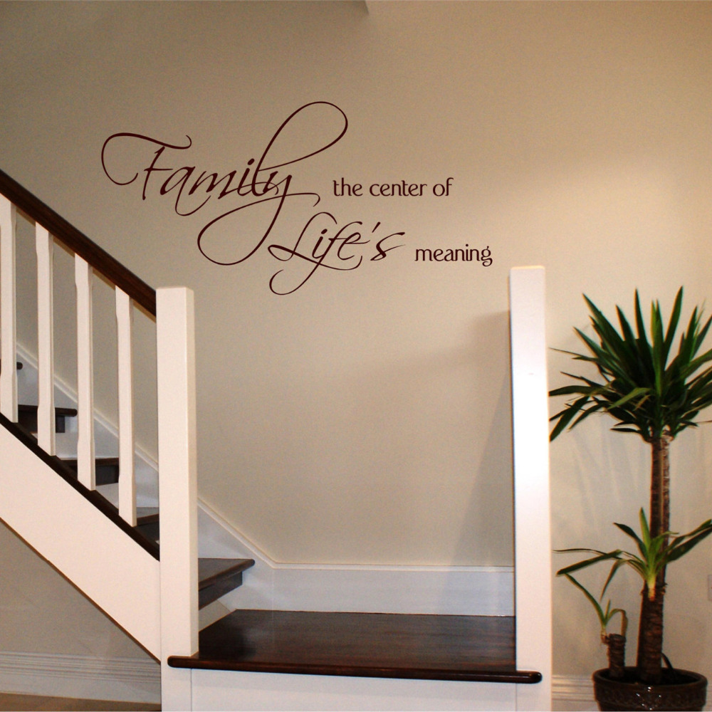 US $5 98 25% OFF|Family The Center of Life's Meaning Wall Stickers Home  Decor Family Phrase Wall Decal Quote Vinyl Stickers adesivo de parede  B78-in