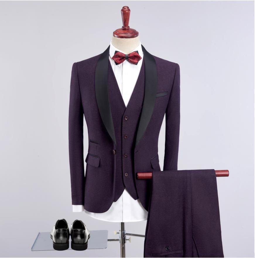 (Jacket+Vest+Pants)2019 Purple Mens High Quality Men's Casual Suits Slim Fit Men's Wedding Suits Tuxedo Blazer Business Terno