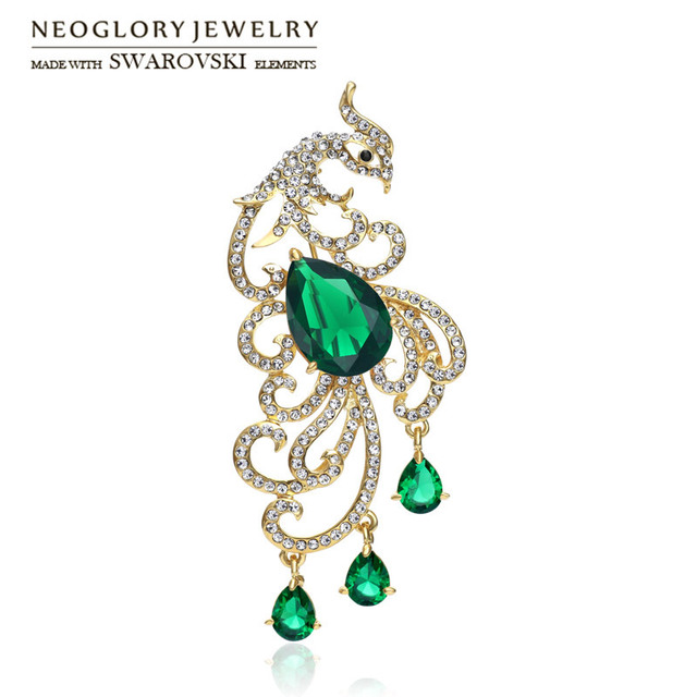 Neoglory Austria Rhinestone   Zircon Brooch Exquisite Peacock Design Alloy  Plated For Women Trendy Wholesale Gift ff60f68be5c6