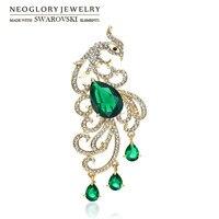Neoglory Austria Rhinestone Zircon Brooch Exquisite Peacock Design Alloy Plated For Women Trendy Sale Gift 2015