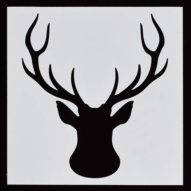 Online Shop Elk Head Deer Flower Reusable Stencil Airbrush Painting