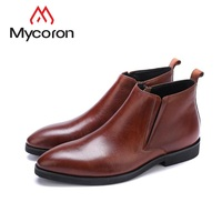 MYCORON/модная мужская обувь, удобные зимние ботильоны, Классические мужские ботинки, качественные брендовые деловые кожаные ботинки, Botas Masculina