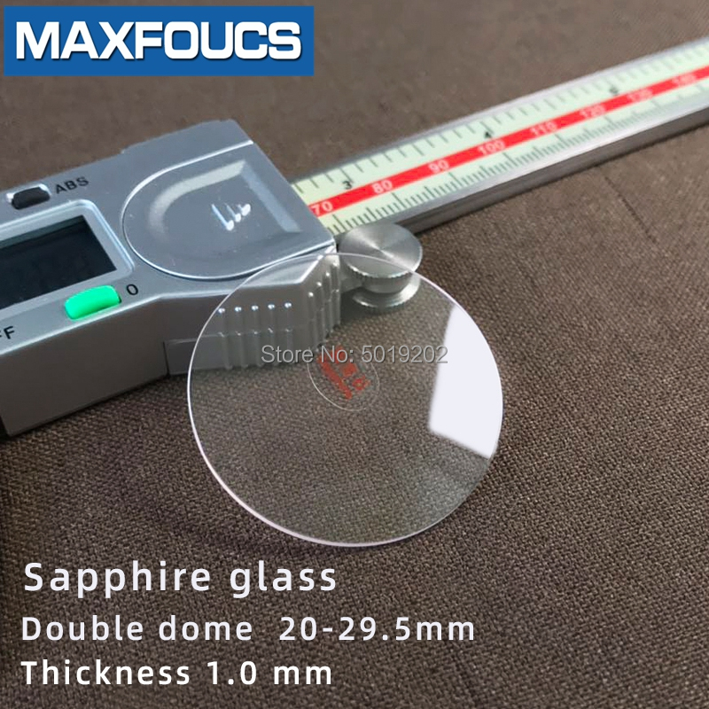 Watch Glass Sapphire Double Dome Anti-scratch Thick 1.0mm Diameter  20 Mm ~ 29.5 Mm Crystal Transparent  1 Piece